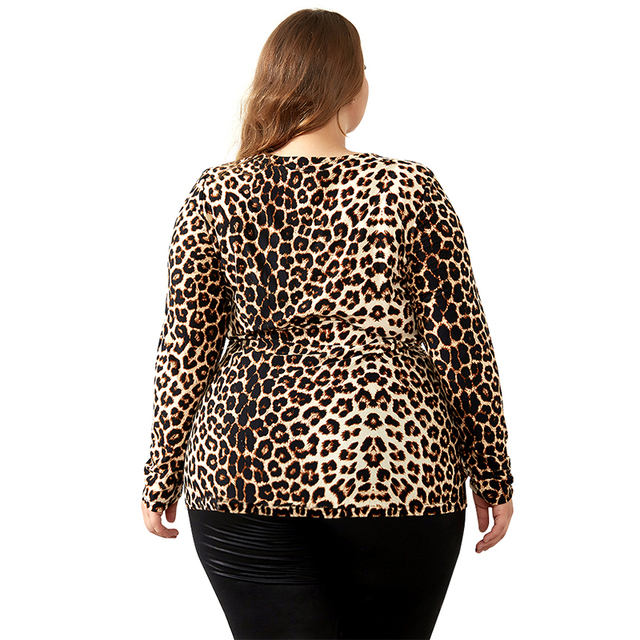 YTL Female Big Size Spring Autumn Grey Leopard Deep V Neck Long Sleeve Slim Tunic Top Large Size Blouses Women 5XL 6XL 7XL H088 3