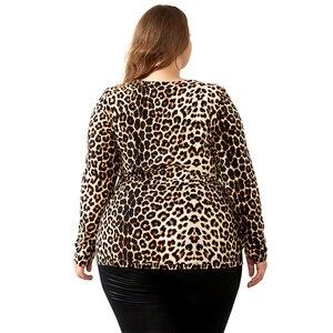 Image 4 - YTL Kadın Büyük Boy Bahar Sonbahar Gri Leopar Derin V Boyun Uzun Kollu Ince Tunik Üst Büyük Boyutu Bluzlar Kadın 5XL 6XL 7XL H088