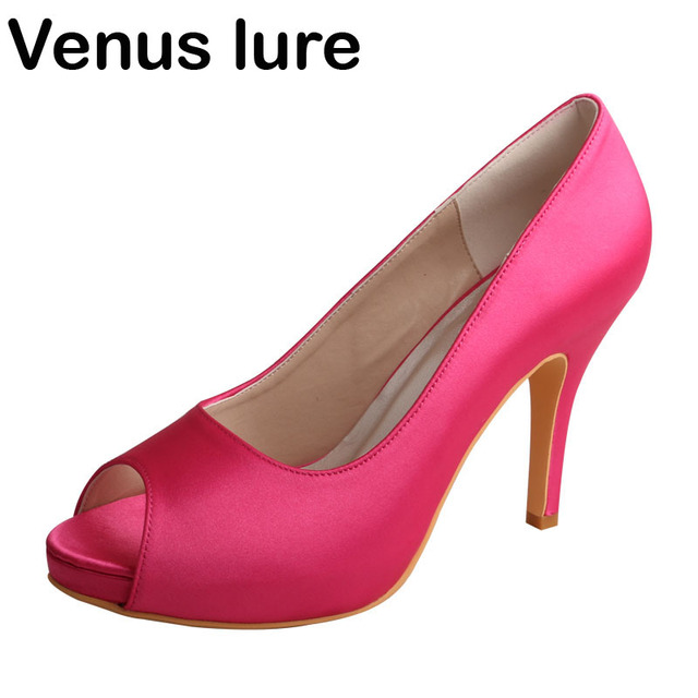 b785a3fdc3d US $40.43 15% OFF|Simple Design Fuchsia Satin Wedding Bridesmaid Shoes Made  in China High Heels-in Women's Pumps from Shoes on Aliexpress.com | ...