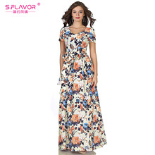 S.FLAVOR Women Long Dress Short Sleeve V-neck Casual Bohemian Style Dress for Female Women Printing Spring autumn Vestidos(China)