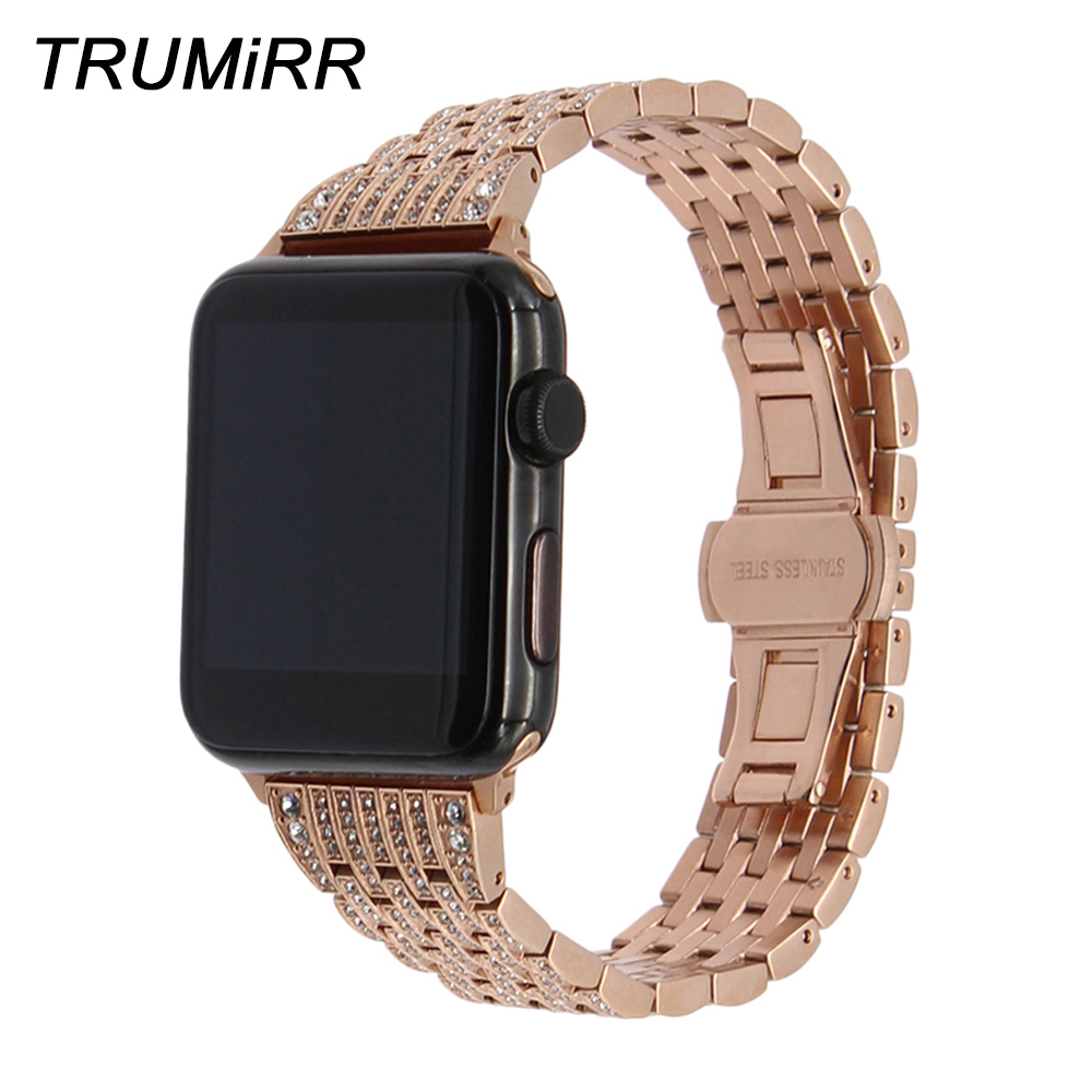 Crystal Diamond Watchband for iWatch Apple Watch Band 38mm 42mm Series 1 & 2 Steel Band Wrist Strap Bracelet Black Gold Silver цена
