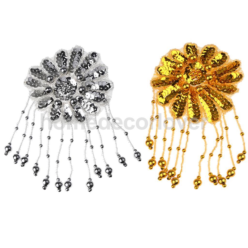 2pcs Sequin Beaded Lace Flower Patch Motif Applique Stage Costume Dance Dress Hairpiece Decorations