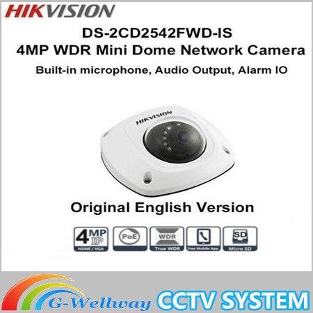 Hikvision 4MP POE ir mini dome ip camera built-in Mic ds-2CD2542FWD-is replace DS-2CD2532F-IS ds-2cd2535f-is 2cd2532f multi language ds 2cd2135f is 3mp dome ip camera h 265 ir 30m support onvif poe replace ds 2cd2132f is security camera