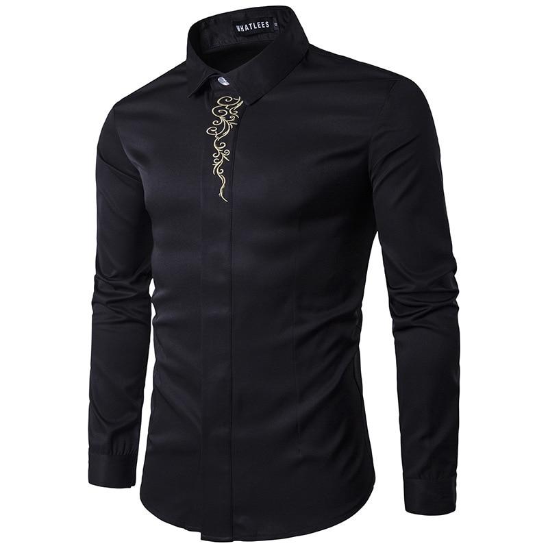 6 ColorsMen Uzun Kollu Gömlek Yaz Moda Marka Erkek Giyim Slim Fit - Erkek Giyim - Fotoğraf 2