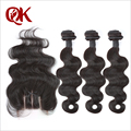 7A Unprocessed Brazilian Virgin Hair Body Wave With Closure 3 Bundles Human Virgin Hair With Closure Bundle Hair With Closure
