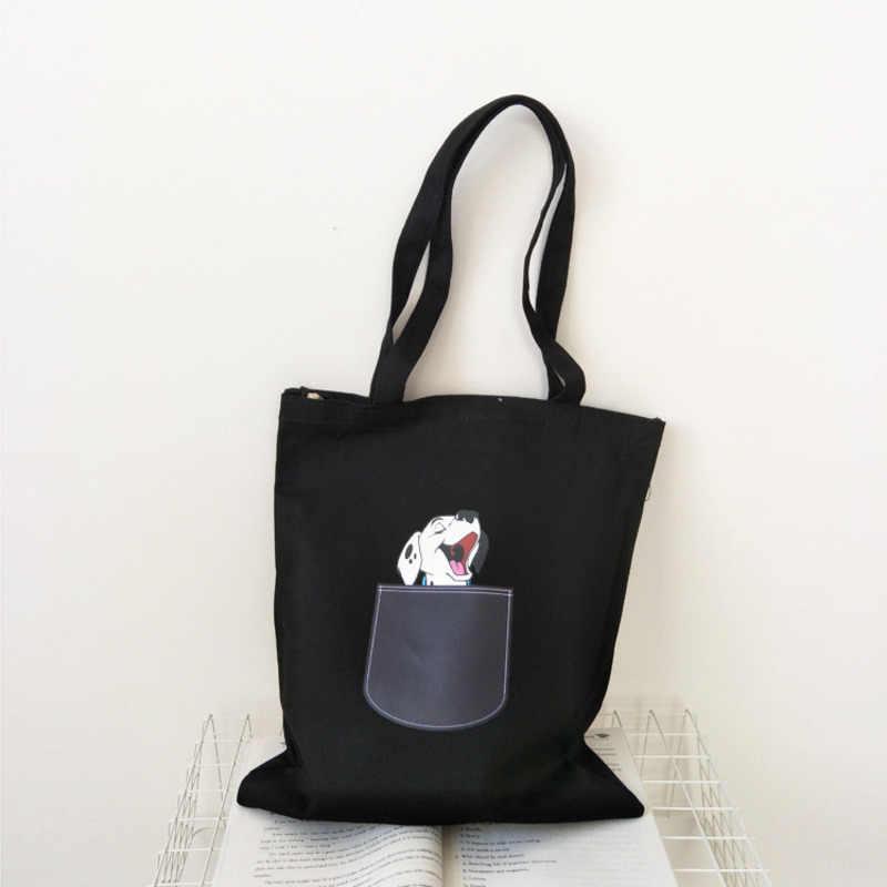 Mulheres Lona Saco de Compras Dobrável Preto Cão Dos Desenhos Animados Saco De Pano De Algodão Feminino Bolsas Tote Shopper Bag Bolsa de Ombro Bolsa Feminina