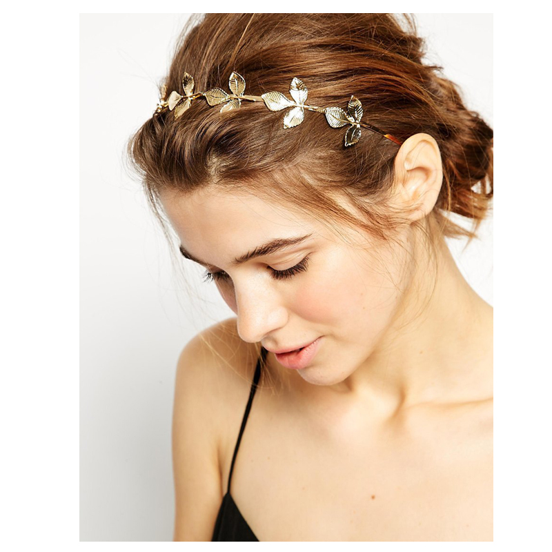 New Summer Woman Lady Fashion Trendy Decorative Hair Accessories Shiny Golden Leaves Metal Tiaras Hairbands Headband   Headwear