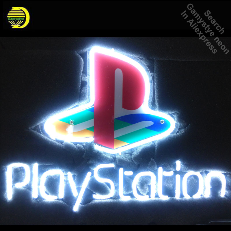 все цены на NEON SIGN For Playstation REAL GLASS Tube Store with board Handcraft Art Game Room Light Signs advertise lamp personalized neon