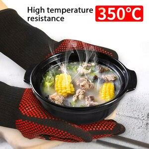 Image 2 - Перчатки для барбекю, термостойкие силиконовые варежки для гриля и выпечки, с изоляцией, аксессуары для барбекю