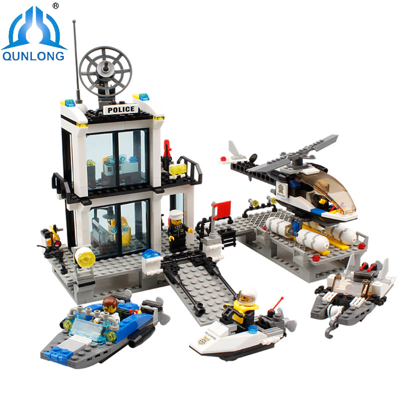 Qunlong Toys Minecrafted Police Station Building Blocks Helicopter Boat Model Bricks Set Compatible Legoe City Toy Birthday Gift 965pcs city police station model building blocks 02020 assemble bricks children toys movie construction set compatible with lego