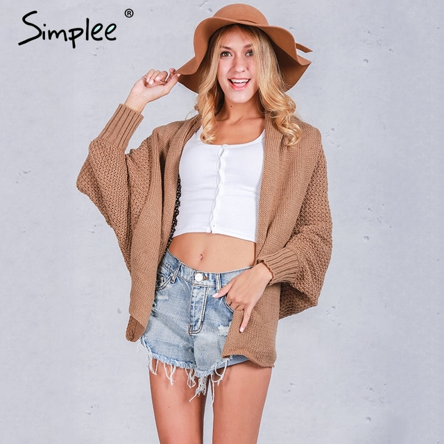Tricot Simplee Batwing malha shrug sweater mulheres Outono inverno moda quente jumper camisola oversize xale cardigan sweaters