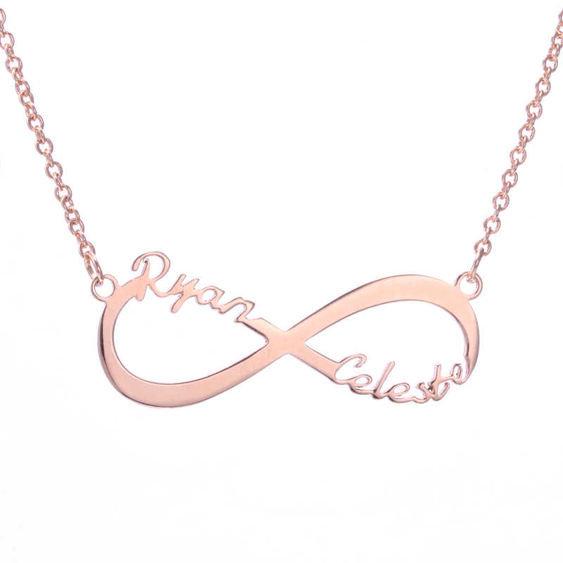 66b7799da7f7a DUOYING Infinity Necklace For eBay Custom Name Necklace Gold Two Name  Personalized Gift Mother Daughter Minimalist Necklace