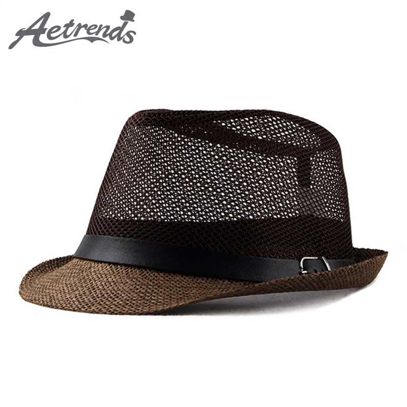 [AETRENDS] 2018 New Summer Jazz Cap Beach Straw Caps Fedora Hats for Men Fedoras Panama Hat Z-6492()