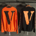 OFF WHITE X Vlone Style Orang Sweatshirts Men Women Best Quality Print Fleece Fashion Pullover Man Perfect Version Couples Pull