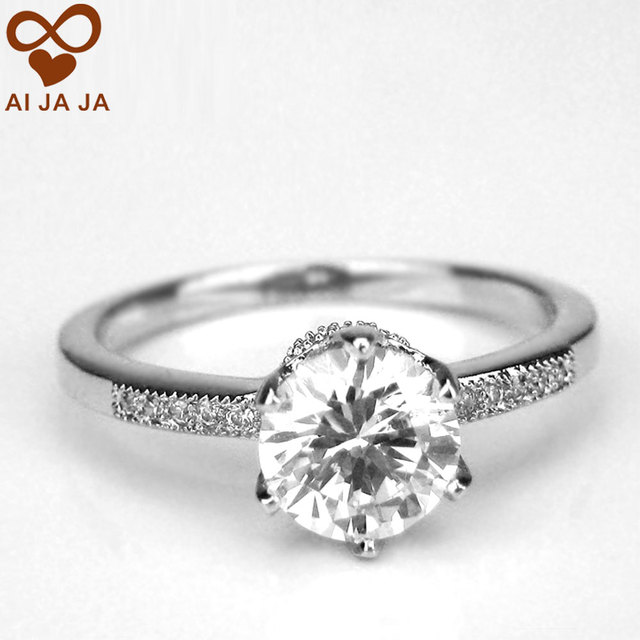 aijaja wholesale fashion crown wedding rings solitaire with accents classic engagement bands jewelry for women high - Crown Wedding Rings