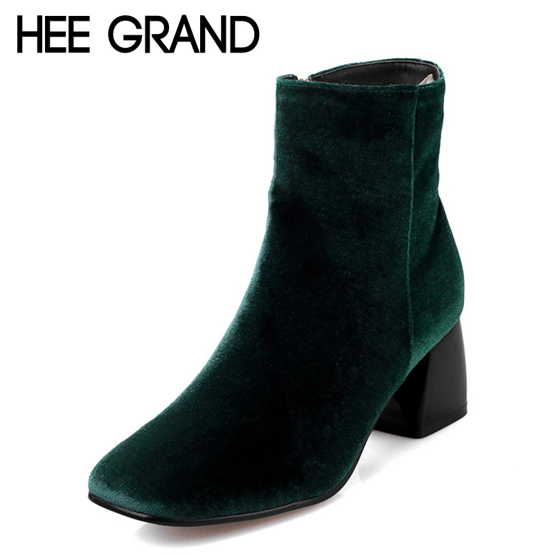 ФОТО HEE GRAND Women's Ankle Boots 2017 Autumn Solid Flock Boot Woman High Fashion Square High Heels Boots Pump Shoes Woman XWX4354