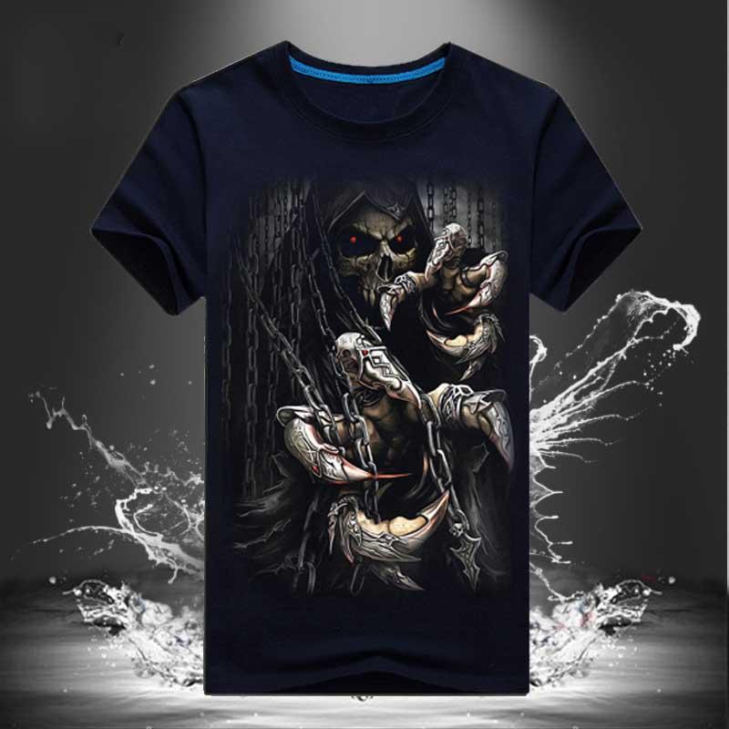 Fashion 2018 3D Print Skulls Palace T Shirt Men Tees Cotton Short Sleeves Casual Hip Hop Funny Tee Shirt Homme Camiseta mma S-6X