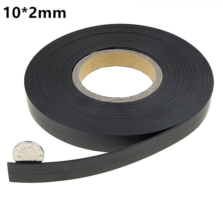 10meters a roll 10*2mm Flexible Soft Magnetic Rubber Magnet Strip Tape for Home doors and windows Office equipment