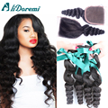 Malaysian Loose Wave With Closure 4 Bundles Virgin Hair With Lace Closure Human Hair Weft With Closure Loose Body 4Pcs Lot