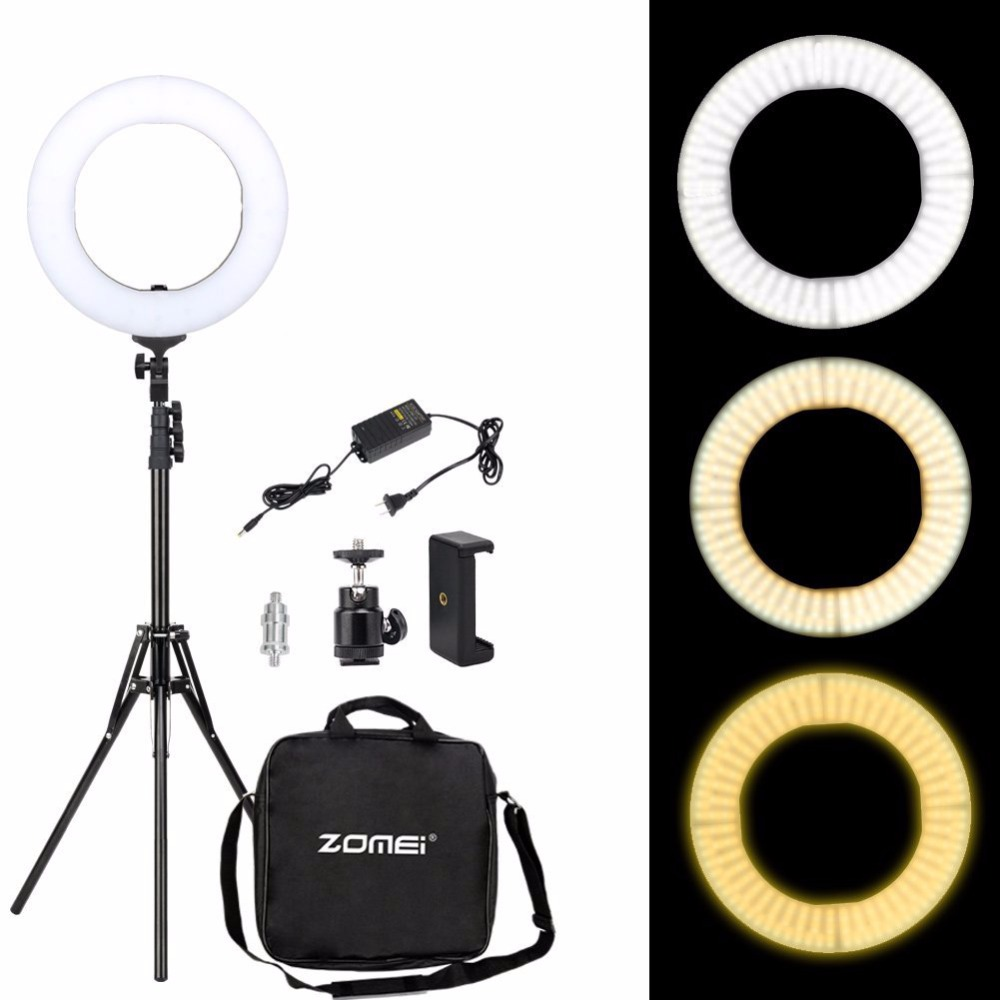 Zomei Dimmable Ring Selfie Light 3200 5500K LED Photographic Lighting Camera Lamp with Stand Adapter For