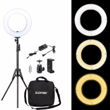 Zomei Dimmable Ring Selfie Light 3200-5500K LED Photographic Lighting Camera Lamp with Stand Adapter For Makeup Smartphone Video(China)