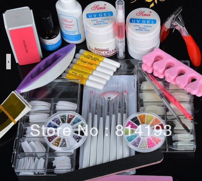 2018    Pro UV Gel Nail Art Sets Tool Kits UV lamp Brush Remover rhinestones nail half tips cleanser plus acrylic Ms Coco Set технический фен bosch phg 600 3