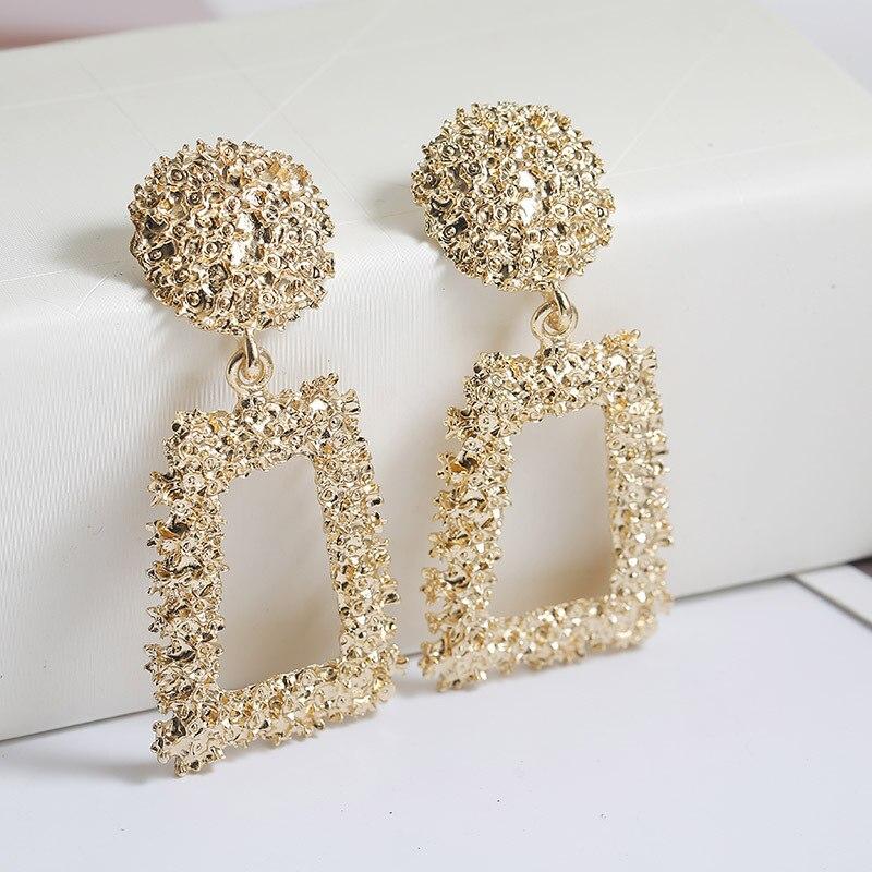 ISINYEE Luxury Crystal Geometric Big Dangle Earrings For Women Fashion Shiny Rhinestone Drop Earring Brinco Party Jewelry Gift