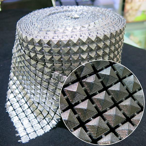 Silver Wedding Diamond Sparkle Rhinestone Mesh Trim 10yards 12 rows Plastic  base Party Decorations Cake Ribbon 7ce41a39a44b