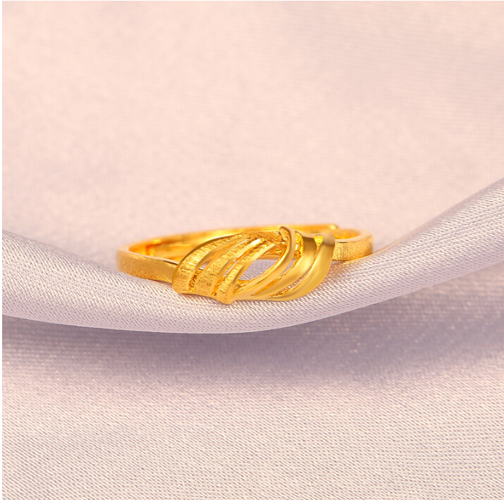 Fine Jewelry Pure 24k Yellow Gold Ring Unique Knot Design Adjustable Ring - 3