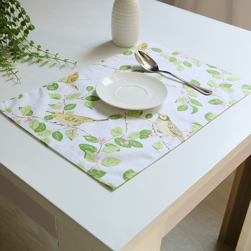 4pcslot birdsflowers printed placemat diningkitchen table mat pad tableware utensil restaurant catering - Kitchen Table Mats