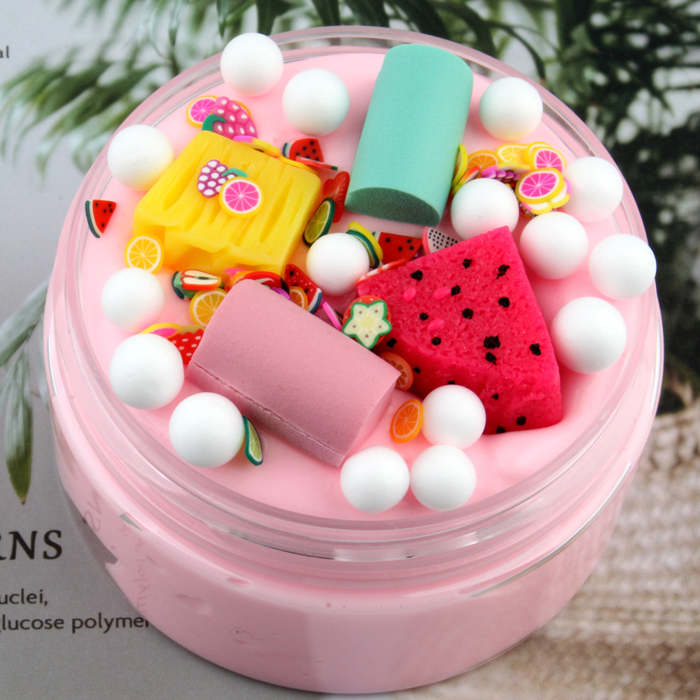 100ml Ice Cream Slime Cotton Mud Fruit Supplies Fluffy Slime Clay Charms Polymer Clay Slime Toys For Children Hand Plasticine