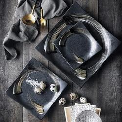 NIMITIME japoński styl ceramiczne Sushi kwadratowych płyta przekąska talerzyk deserowy restauracja Retro serii zastawa stołowa w Naczynia i talerze od Dom i ogród na