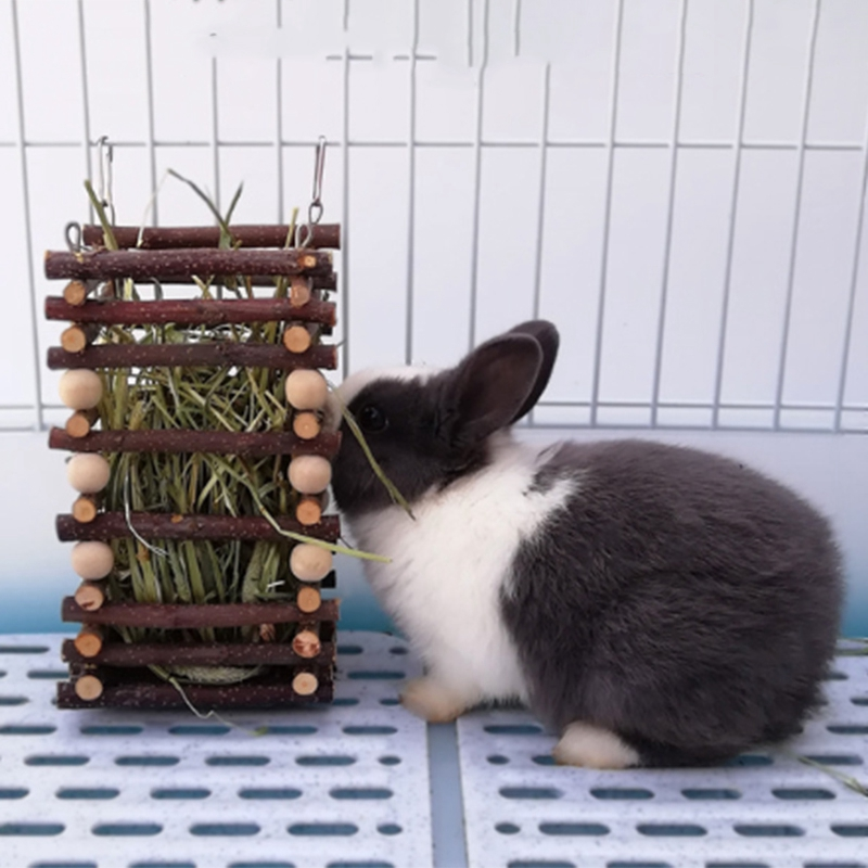 Wood Rabbit Grass Food Feeder Hangable Small Animal Grass Frame For Chinchilla Dutch Pig Grass Feeding Rabbit Cage Accessories