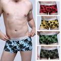 Men's fashion underwear cotton palm printed colorful boxer low rise big bulge tropical boxer shorts sexy beach underpants