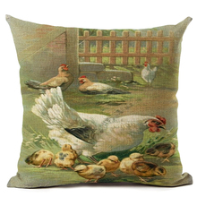 Chicken Print Pillow Cover