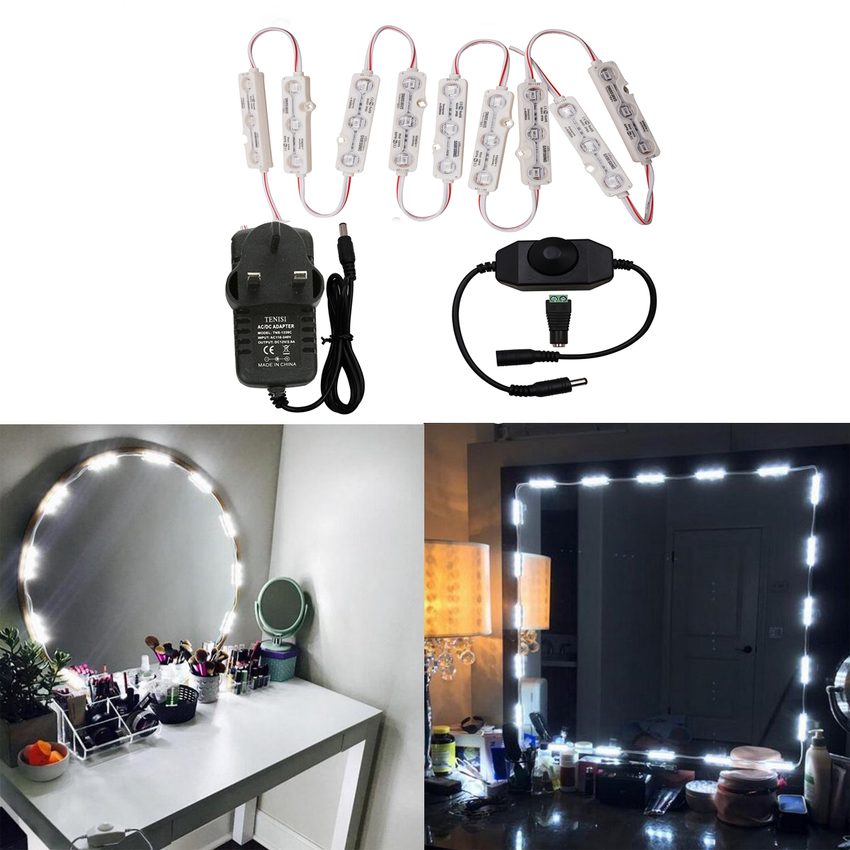 new hollywood style led vanity mirror lights kit dimmable bulbs and power plug lighting fixture. Black Bedroom Furniture Sets. Home Design Ideas