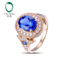 CaiMao 18KT 750 Rose Gold 3 1 ct Natural IF Blue Tanzanite AAA 0 53 ct