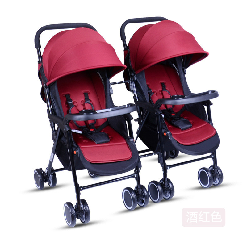 Lightweight high landscape twins stroller separable newborn carriage 170 degree lying baby trolley folding multiple stroller folding baby stroller lightweight baby prams for newborns high landscape portable baby carriage sitting lying 2 in 1