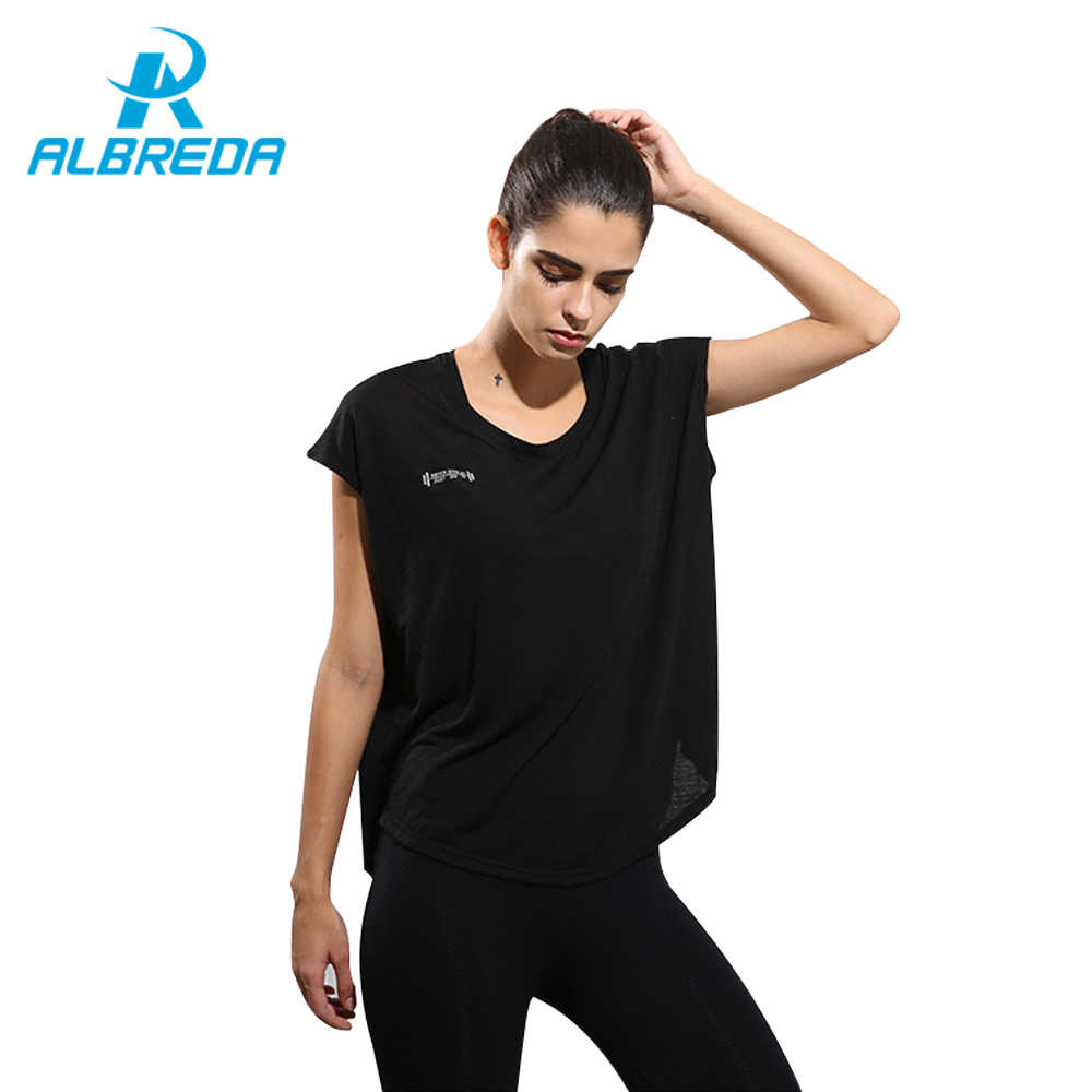 0dcadb98af548 ALBREDA New Women Sports Yoga Shirt Breathable Loose Running Exercise  Fitness T-shirt Quick Drying