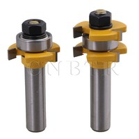 CNBTR 1 2Inch Shank Dia 3 Wing Cemented Rabbet Tongue And Groove Router Bit Set Woodworking