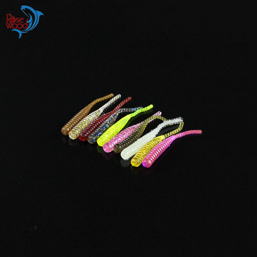 200PCS 4cm0.3g Bass Fishing Worms 10 Colors Silicone Soft Plastic Fishing Lures Artificial Bait Rubber in Jig Head Hook Use (41)