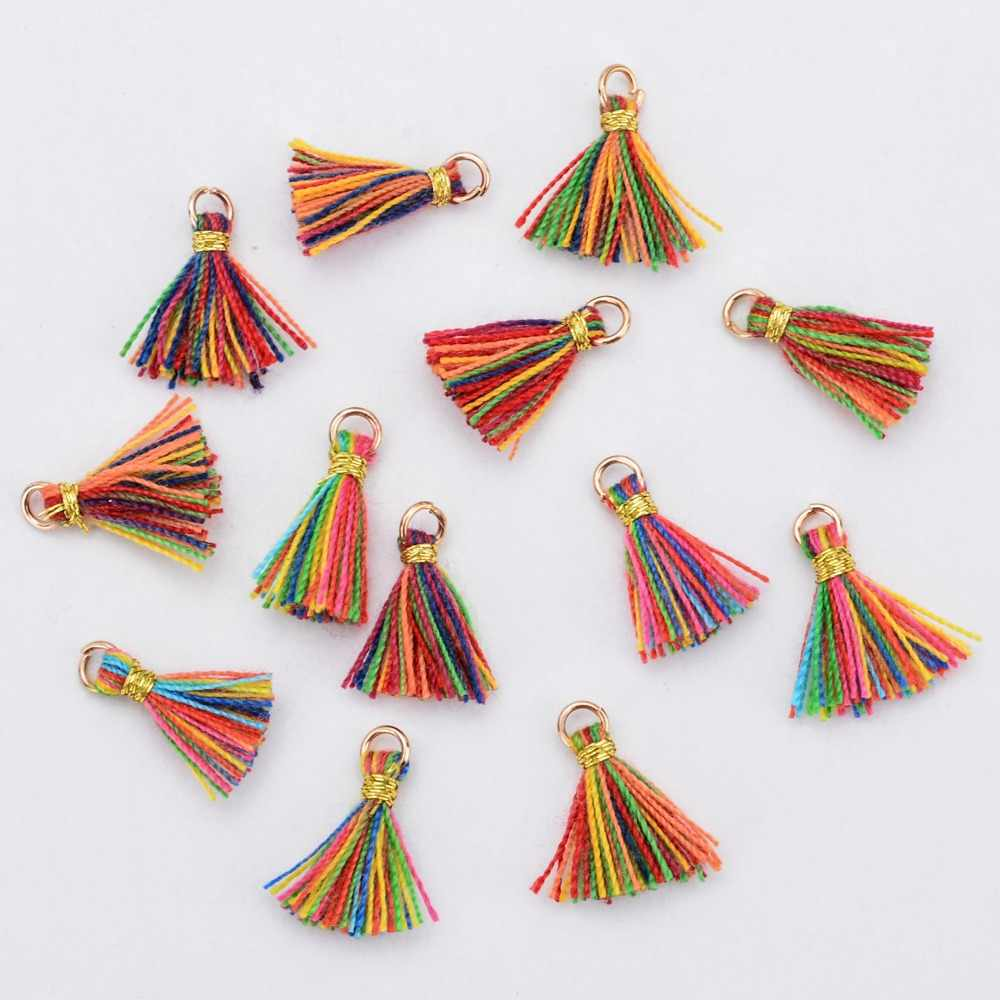 20pcs/Lot New Multicolor Handmade Tassel Charms For Jewelry Making 1CM Mini Cotton Tassel Necklace Earrings DIY Jewelry Findings