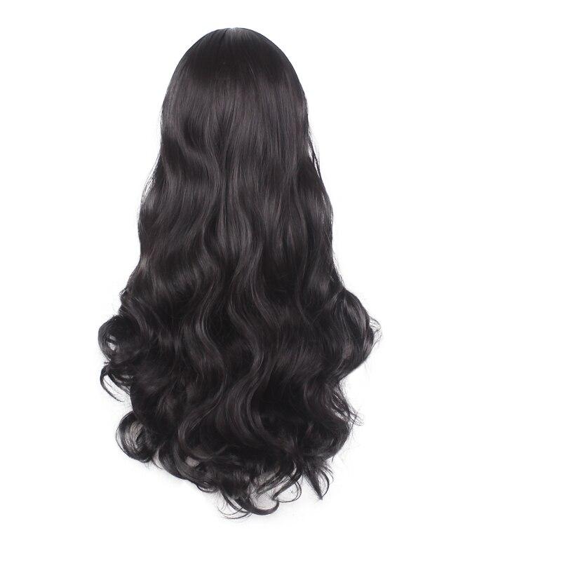 WoodFestival Lady kvinnor vågigt hår långt svart peruk cosplay - Syntetiskt hår - Foto 2