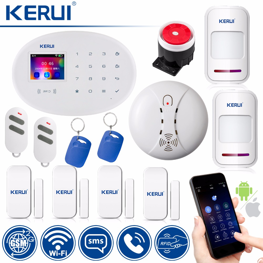 KERUI WIFI GSM Home Security Alarm System RFID Card 2.4 inch TFT Touch Panel APP Control Motion Detector Burglar Alarm kerui wifi gsm home security alarm system smart socket smart home rfid card app control motion detector burglar alarm