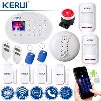 KERUI Wi Fi GSM дома охранной сигнализации системы RFID карты 2,4 дюймов TFT сенсорная панель приложение управление движения Охранная сигнализация с ф