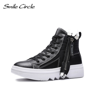 Image 2 - Smile Circle Winter Sneakers Women High top chunky Shoes Thick bottom Flat platform Shoes Winter Warm plush Shoes High quality