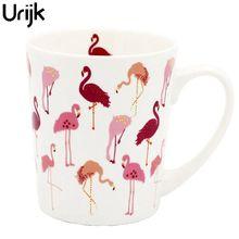 Urijk 1 Stück Cartoon Keramische Hitzebeständige Fantasie Mädchen Herz Rosa Flamingo Becher Frühstück Thema Partei Dekorative Tasse Büro becher