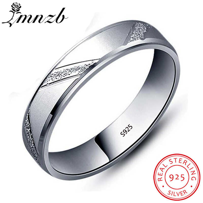 LMNZB New Design Fashion Wedding Rings Original 925 Sterling Silver Frosted Scrub Rings For Women Men Couple Jewelry Gift LRG48