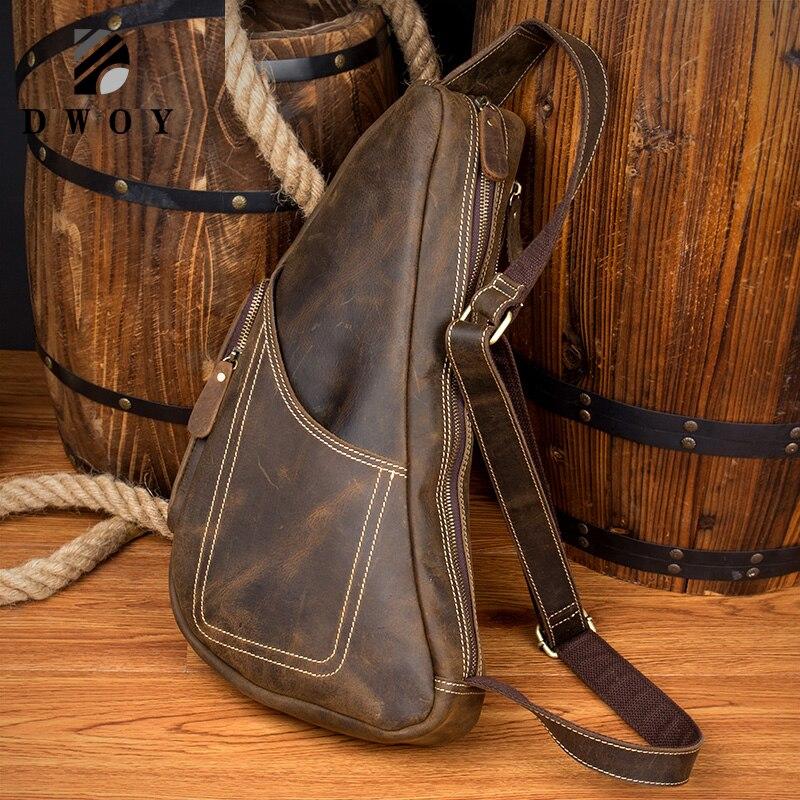 Натуральная кожа винтажная Сумка слинг Crazy Horse кожаная мужская нагрудная сумка через плечо сумка мессенджер для нагрудная сумка для путешес