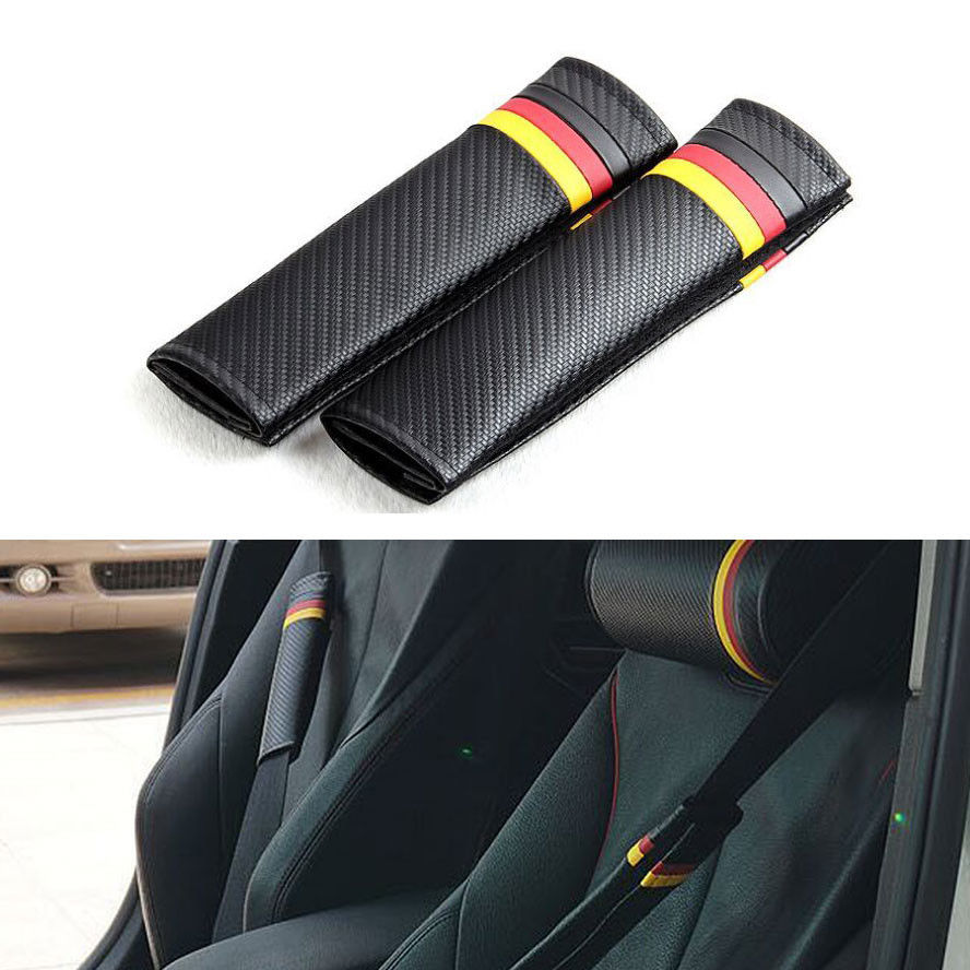 BBQFUKA 2x Germany German Power Flag Carbon Fiber Car Seat Belt Cushions Shoulder Pads Fit For BMW Audi VW Ford Hyundai Ect In Belts Padding From
